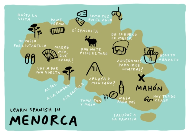 learn spanish in menorca postcard cursos de español