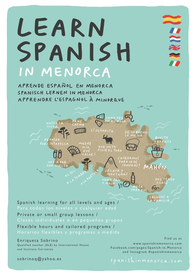 learn spanish in menorca illustration map poster mercedes leon merchesico