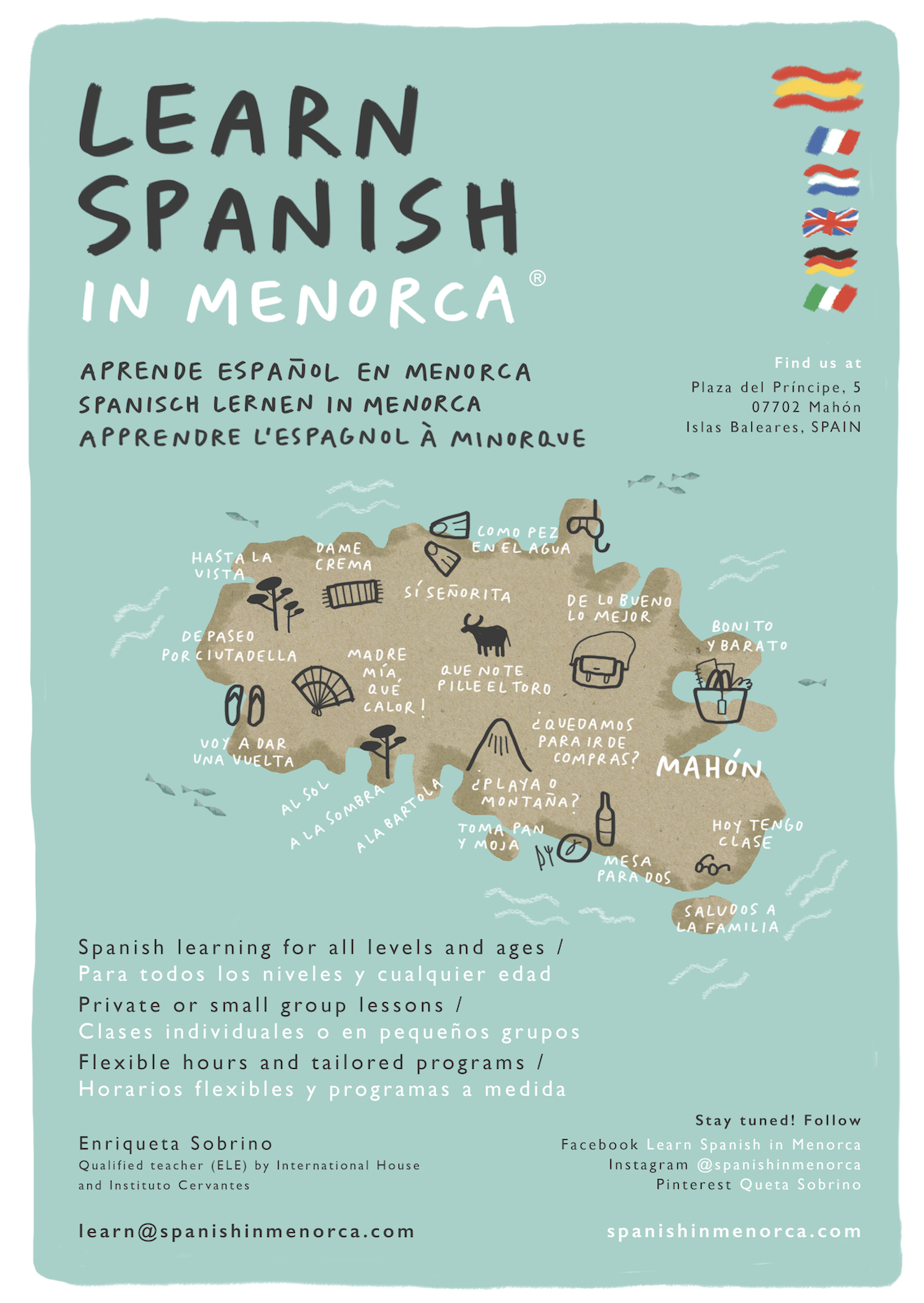 learn spanish in menorca school poster map icons expressions 2018